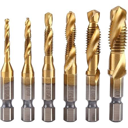 6X HSS Hex Shank Tap Drill Bit Metric Thread M3-M10 Screw Compound Tapping Kit