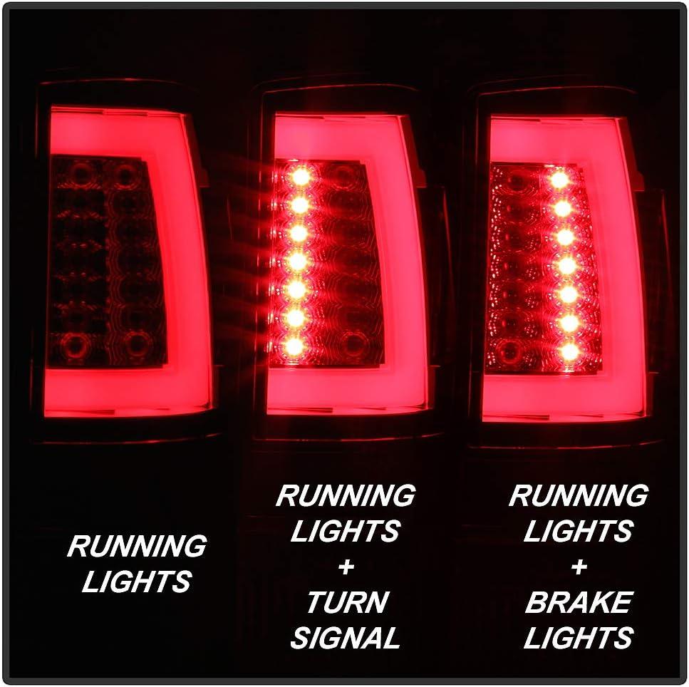ACANII For 2000-2006 Chevy Suburban Tahoe GMC Yukon V2 Red Clear LED Tube Tail Lights Brake Lamps Driver /& Passenger