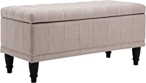 """HomCom Large 42"""" Tufted Linen Fabric Ottoman Storage Bench with Soft Close Lid - Beige"""