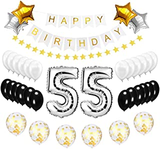 Happy to 55th Birthday Balloons Silver Set - High Quality Birthday Theme Decorations for 55 Years Old Party Supplies