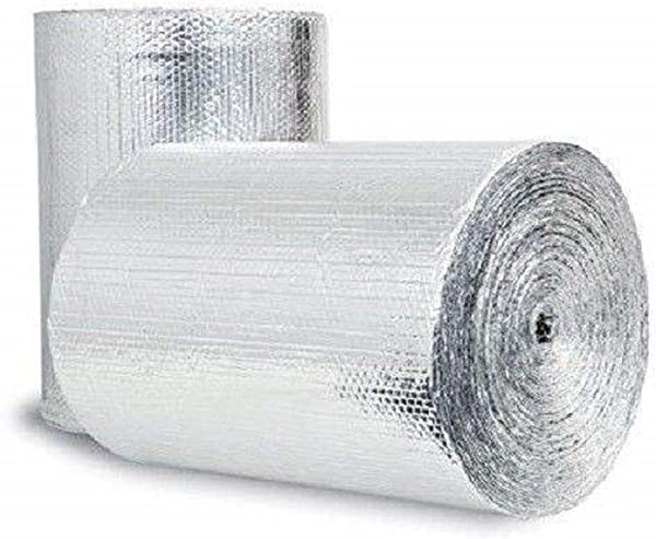 Double Bubble Reflective Foil Insulation 4 X 25 Ft Roll Industrial Strength Commercial Grade No Tear Radiant Barrier Wrap For Weatherproofing Attics Windows Garages RV S Ducts More