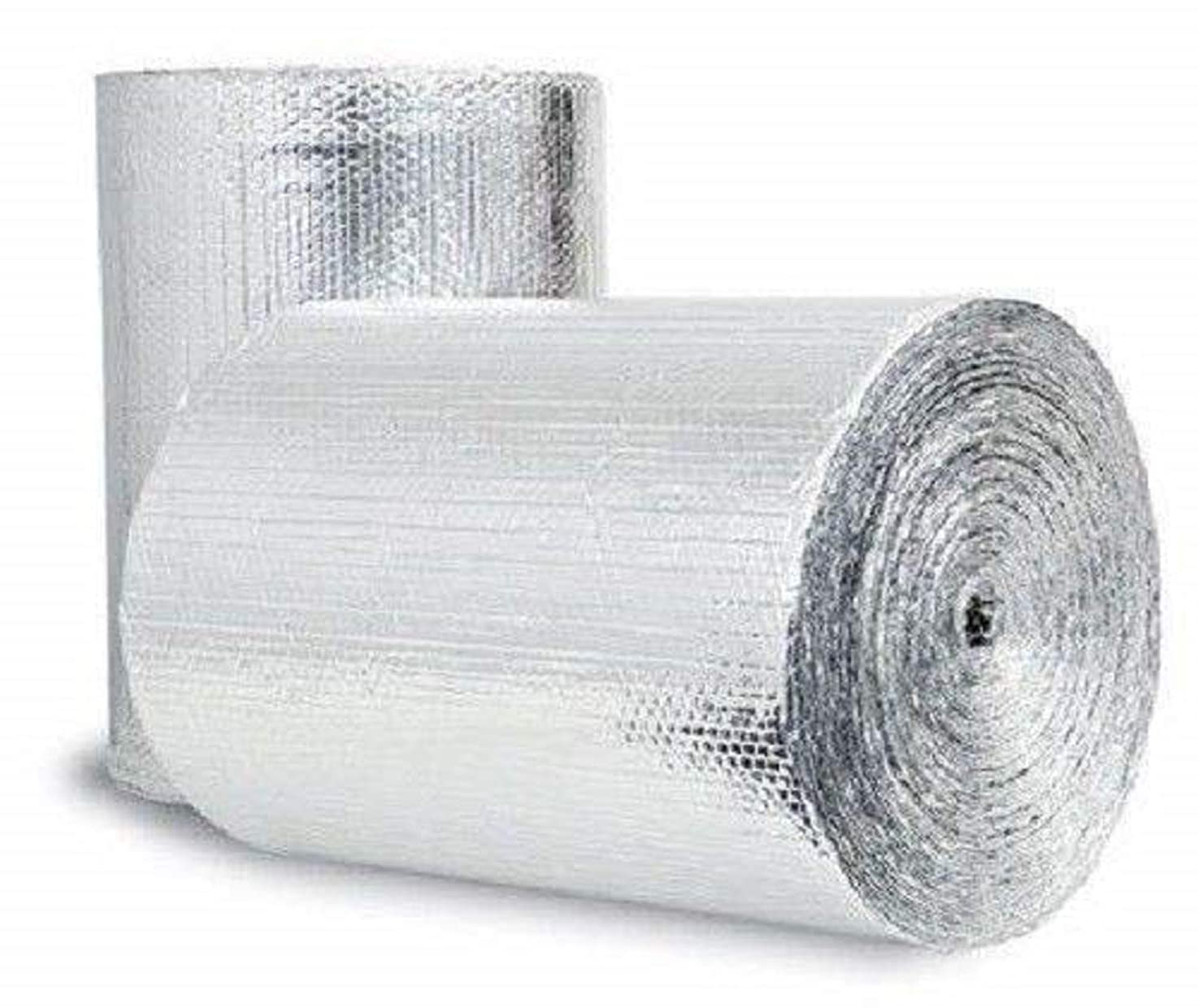 US Energy Products Double Sided Reflective Heat Radiant Barrier Aluminum Foil Insulation (1/4 Thick R8 Double Poly-Air) Roll: Walls Attics Air Ducts Windows Radiators HVAC Garages + More (24