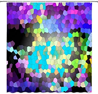 BCNEW Mosaic Shower Curtain Decor Colorful Geometric Pattern Bathroom Curtain Polyester Fabric Machine Washable with Hooks 70x70 Inches