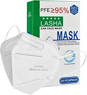 LASHA 20pcs 5 Layers Protective Dust Safety Masks Disposable Face Masks (3D Mask)