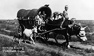 Pritchett, Colorado - Orville Ewing; Covered Wagon Scene Photograph (9x12 Fine Art Print, Home Wall Decor Artwork Poster)