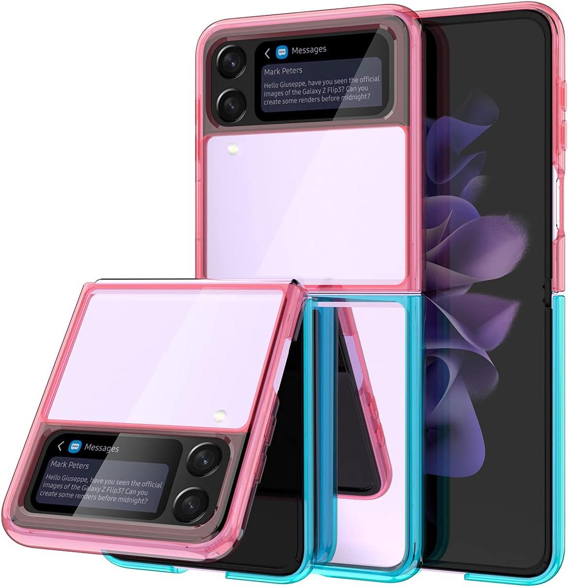 wegoodsun Case Compatible for Samsung Galaxy Z Flip 3 5G(2021 Release),[Slim Thin] Crystal Hard PC and Soft TPU Bumper Clear Shockproof Anti-Scratch Transparent Phone case (Pink/Aqua)