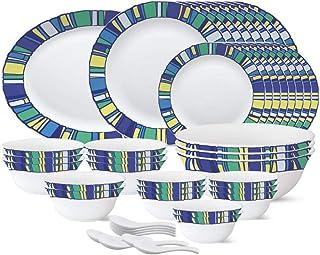 Larah by Borosil - Tiara Series, Sapphire, 44 Pcs, Opalware Dinner Set, White