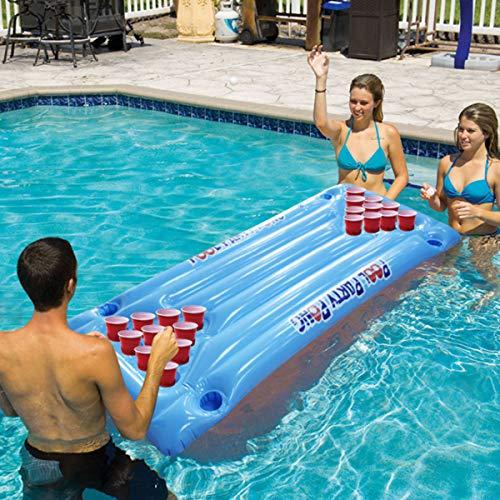 Dsqcai 24-Tassen-Rack Aufblasbares Bier Tischtennis Tisch Schwimmbad Float Sommer Wasser Party Unterhaltung Luftmatratze Eiskübel Kühler Float Wassersport
