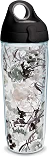 Tervis 1353420 Kelly Ventura - Shade Blooms Insulated Tumbler with Wrap and Black with Gray Lid, 24oz Water Bottle, Clear