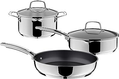 "Mobuta Stainless Steel Cookware Set Lite 5 Pcs Pan & Pots Set, 3-QT Stock Pot W/Lid+3-QT Deep Frying Pan W/Lid+11"" Open Frying Pan, Mirrored Exterior Finish Induction Compatible PFOA-FREE"