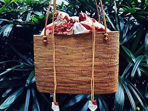 Woven Rattan Basket Tote Bag