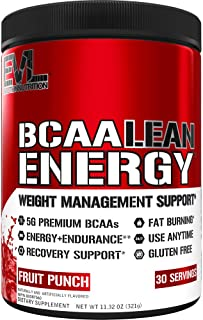 Evlution Nutrition BCAA Lean Energy - Essential BCAA Amino Acids + Vitamin C, Fat Burning & Natural Energy for Performance...