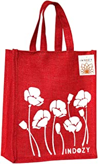INDOZY Jute Bag for Lunch Tiffin & Gifting | for Men Women Girl boy Kid Office Daily use Handbag | with Zip & 2 Inside Poc...