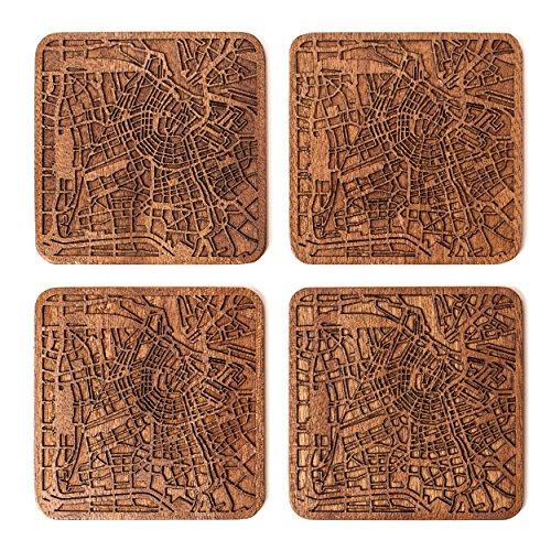 Kaart Coaster, Set van 4, Sapele Houten Coaster met Stad kaart, Meerdere Stad Optioneel, Handgemaakt Amsterdam