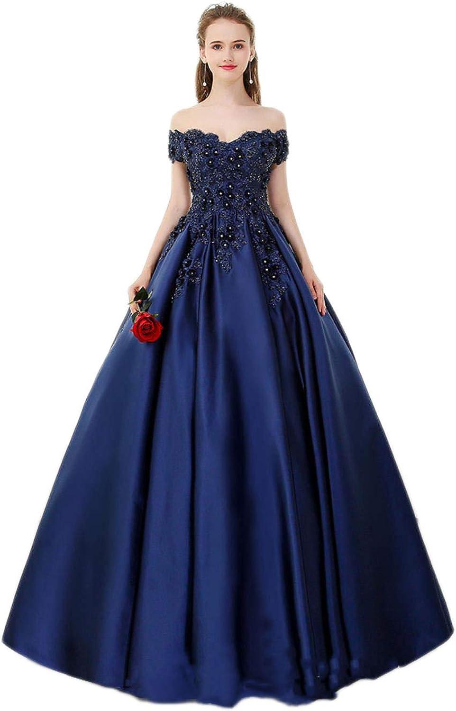 TZHSZ VNeck Strapless Navy bluee Long Dress Lace Beaded Retro Ball Gown