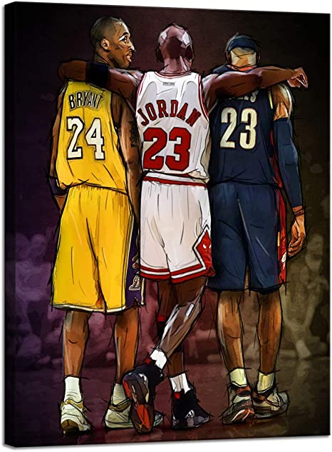Wall HDQ Basketball Fan Memorabilia Gifts NBA Legends Michael Jordan & Kobe Bryant & Lebron James Posters Prints on Canvas [18''W x 24''H]