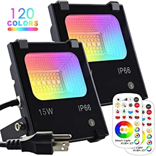 MELPO 15W LED Flood Light Outdoor, Color Changing RGB Floodlight with Remote, 120 RGB..