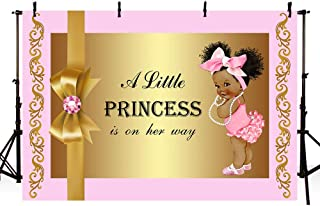 MEHOFOTO Cute Girl Baby Shower Pink and Gold Photo Studio Booth Background Bow Tie Little Princess Backdrops Banner for Photography 7x5ft