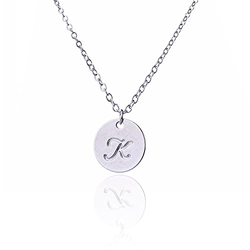 a8cde3264 AOLO Small Script Initial Necklace Silver Initial Disc Necklaces