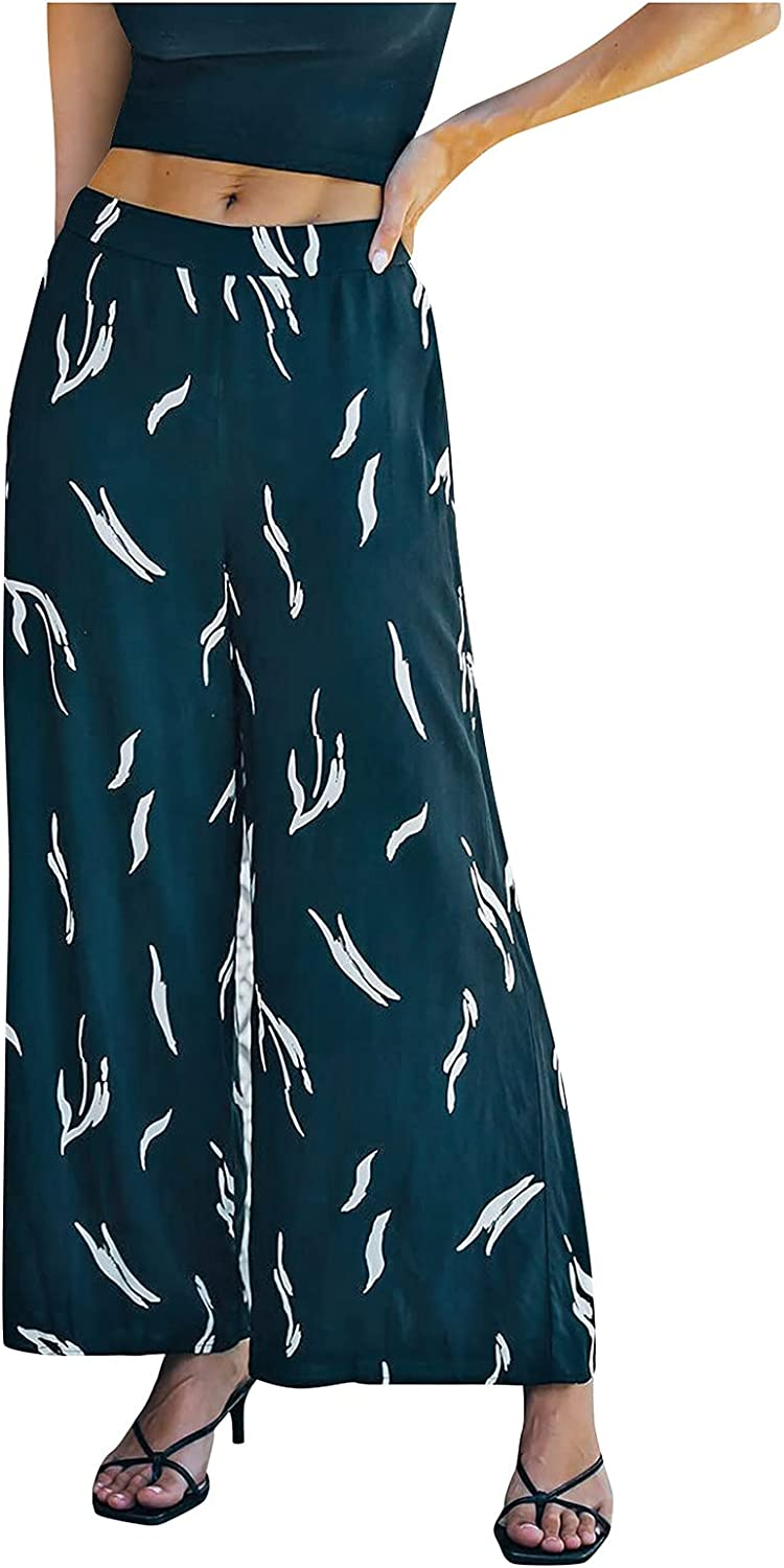 VIASA_ Women's Larga Size High Waisted Solid Color Print Wide Leg Pants Lady's Loose Comfy Polyester Trousers with 2 Pockets