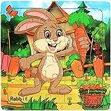 JIUZHOU Jouets Pour Enfants puzzle en bois 20 pièces pour les enfants de 1 à 5 ans,Enfants Éducatifs Formation Développement, Cadeau Pour Les Enfants Jouet-Animal Motif -14.7cmX14.7cmX0.6cm