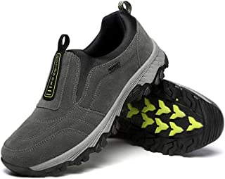 Sponsored Ad - Bohee Premium Water Resistant Hiking Shoes Men, Slip-on Light-Weight Slip-Resistant Outdoor Shoes for Men Breathable Comfortable Lining Camping Walking Shoes Black Grey Blue Size 6.5-12