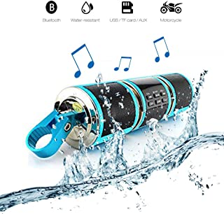 Maso Powersport Speakers, Waterproof 12V HiFi Motorcycle Bluetooth Speaker with Fm Radio Stereo Sound System Remote Alarm MP3 Player - Blue