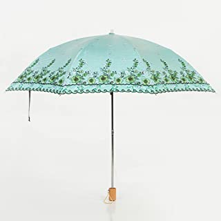 Sun Umbrella Umbrella Sun Umbrella Rain Rain Umbrella Umbrella UV Protection Vinyl Folding Umbrella Huhero (Color : Green)