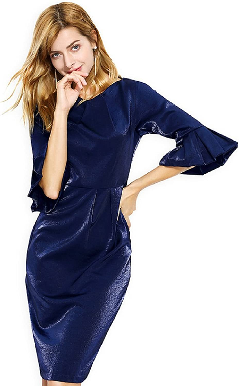 ONLYTAIYANG Women's Autumn Round Neck FivePoint Petal Sleeves Open Bag Hip Temperament Retro Skirt