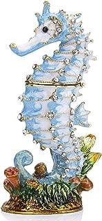YU FENG Hinged Seahorse Trinket Box Hand-Pasted Rhinestones Crystal Jewelry Storage Box
