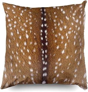 Mesllings Zippered Pillow Covers Pillowcases 18X18 Inch 108 Fur Print Deerskin Fawn Gold Lumbar Decorative Throw Pillow Co...