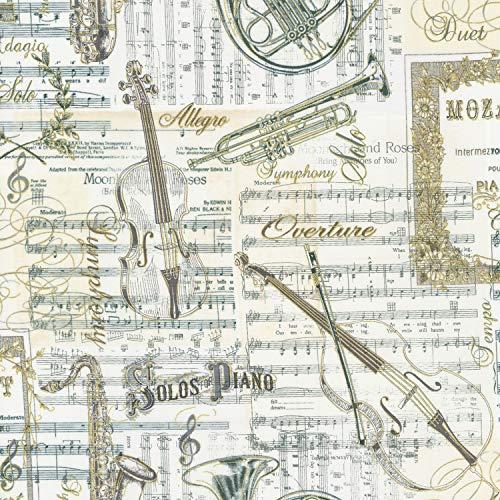 Timeless Treasures Musikstoff – Musikinstrumente Musik Creme – TT192 – 0,5 Meter 100% Baumwolle