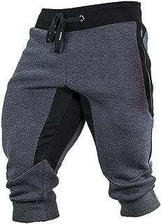 Men's Cotton Joggers Summer 3/4 Shorts Casual Workout Capri Pants Breathable with Elastic Waist Zipper Pockets