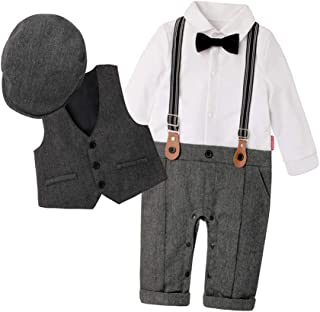 Fairy Baby Baby Boys Outfits Set 3pcs Long Sleeve Gentleman Tuxedo Vest Coat Berets Hat