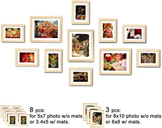 WOOD MEETS COLOR Wall Picture Frames Set of 11, with Hanging Template, Photo Mats, 3-8x10 and 8-5x7 Collage Frames (Original Color)