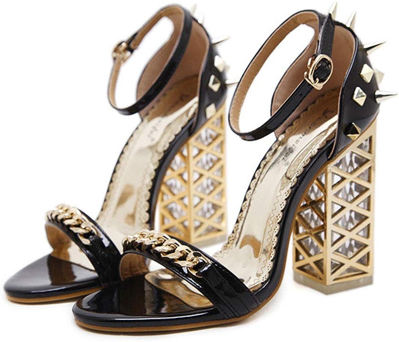 MATCHANT Women's High Heel Sandals Summer Open Toe Chain Decoration Thick High Heel Roman shoes (color   Black, Size   37)