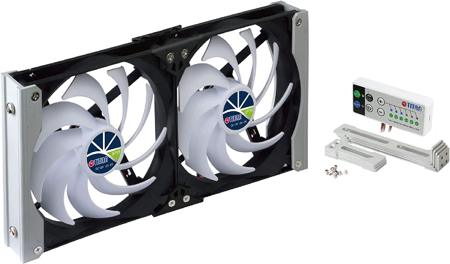 TITAN- 12V DC IP55 Waterproof Double Rack Mount Ventilation Cooling Fan with Timer and Speed Controller- TTC-SC20 (140mm)