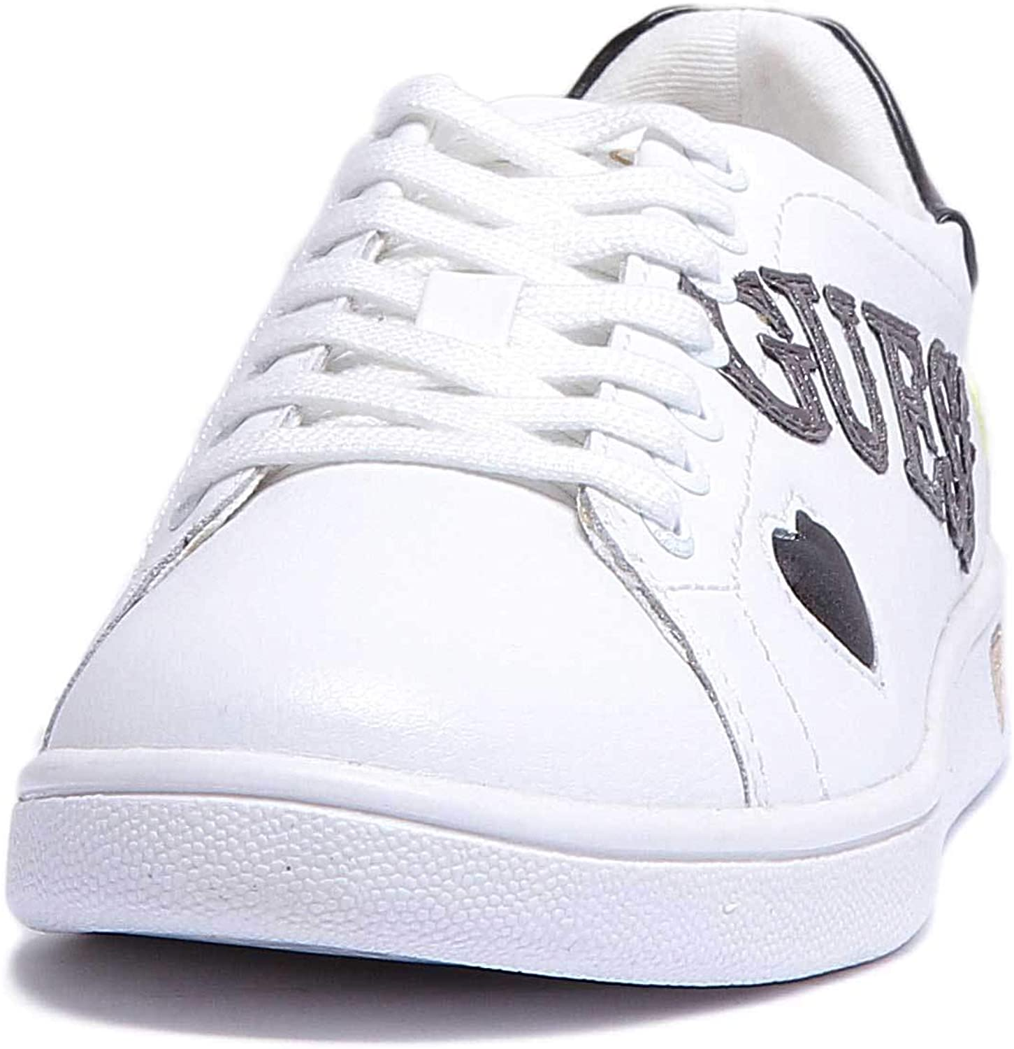 GUESS Flupe3Lea12 Womens Leather Matt Trainer in White