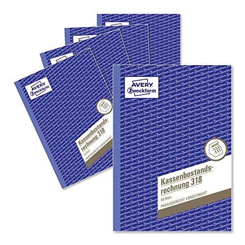 AVERY Zweckform 318-5 Kassenbestandsrechnung (A5, von Rechtsexperten geprüft, für Deutschland und Österreich zur ordnungsgemäßen, kostengünstigen Buchführung, 50 Blatt) 5er Pack weiß