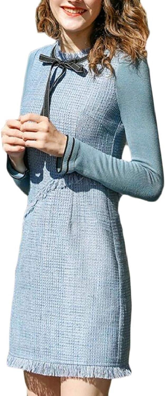 QDCACA Women's Long Sleeve Slim Fit Maxi Tweed Fleece Lined Round Neck Dress