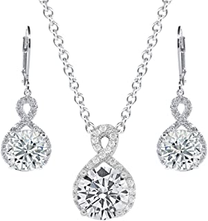Alessandra Jewelry Set, 18k White Gold Cubic Zirconia Pendant Necklace and Dangle Earrings, Bridal Jewelry Set, Round Cut Necklace Earring Set for Women, Silver Halo Jewelry Set