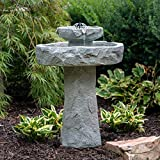 Stone Bird Bath, Rustic Solar Outdoor Bird Bath,2 Tier Patio Decor Rock Fountain, Pedestal Birdbath Bowl Stone Fountain Pump for Garden, Backyard, Lawn