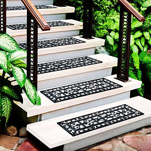 casa pura Colombo Stufenmatten aus Gummi, 25 x 75 cm, rutschfest, wasserabweisend, Schwarz, 5 Stück