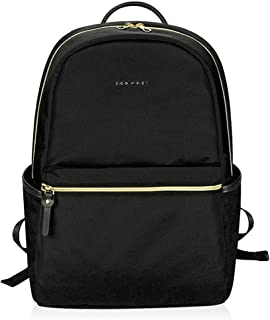 KROSER Laptop Backpack 15.6 Inch Fashion School Backpack Water-Repellent Computer Backpack Laptop Bag Nylon Causal Daypack with USB Charging Port for Travel/Business/College/Women/Men-Black