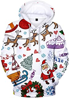 iZHH Men Hoodie Christmas Series Sweatshirt Pullover Hooded Long Sleeve Top Coat