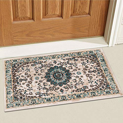 Well Woven Djemila Medallion Beige Vintage Persian Floral Oriental Doormat Rug 2x3 (20