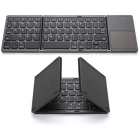 Decdeal Teclado inalámbrico Plegable BT Tamaño de Bolsillo Mini Teclado inalámbrico portátil BT con Panel táctil para Android, Windows, PC, Tableta