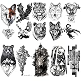 VANTATY 10 Sheets Realistic Tiger Temporary Tattoos Animals For Men Body Armband Soldier Fake Tatoo Stickers For Women Scorpion Wolf Deer Elk Eagle Bear Dot Adults Forearm Tattoos Girls Kids Teens.
