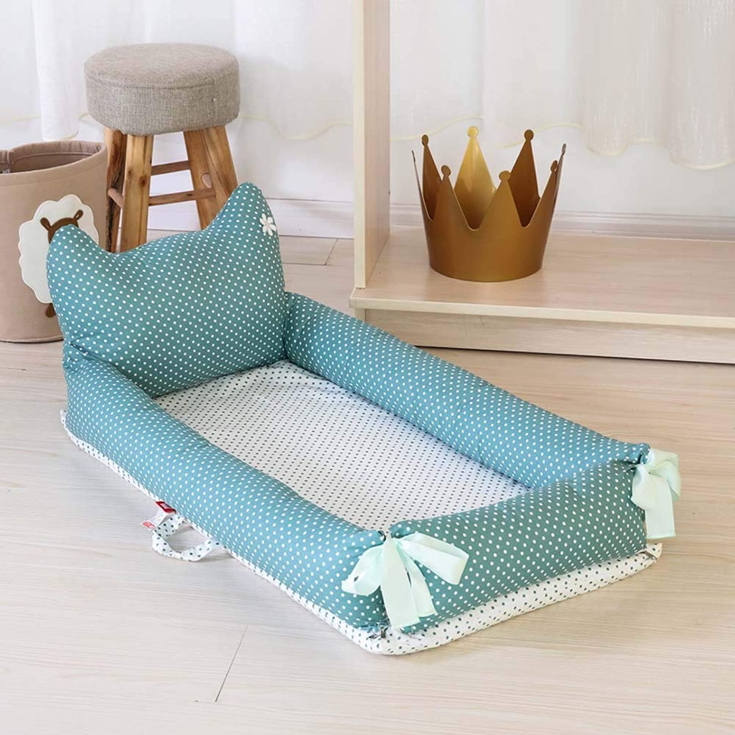Newborn Portable Multi-Function Uterine Bed in Bed Fully Detachable Back-Bed Cot for 0-2 Years Old,D,Smallbed+Pillow