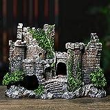 woyada Ornamento de pecera y cuento castillo de resina con detalles realistas. Tamaño: 17 x 6 x 13 cm